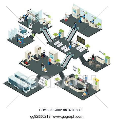 Cafe clipart airport. Vector art isometric halls