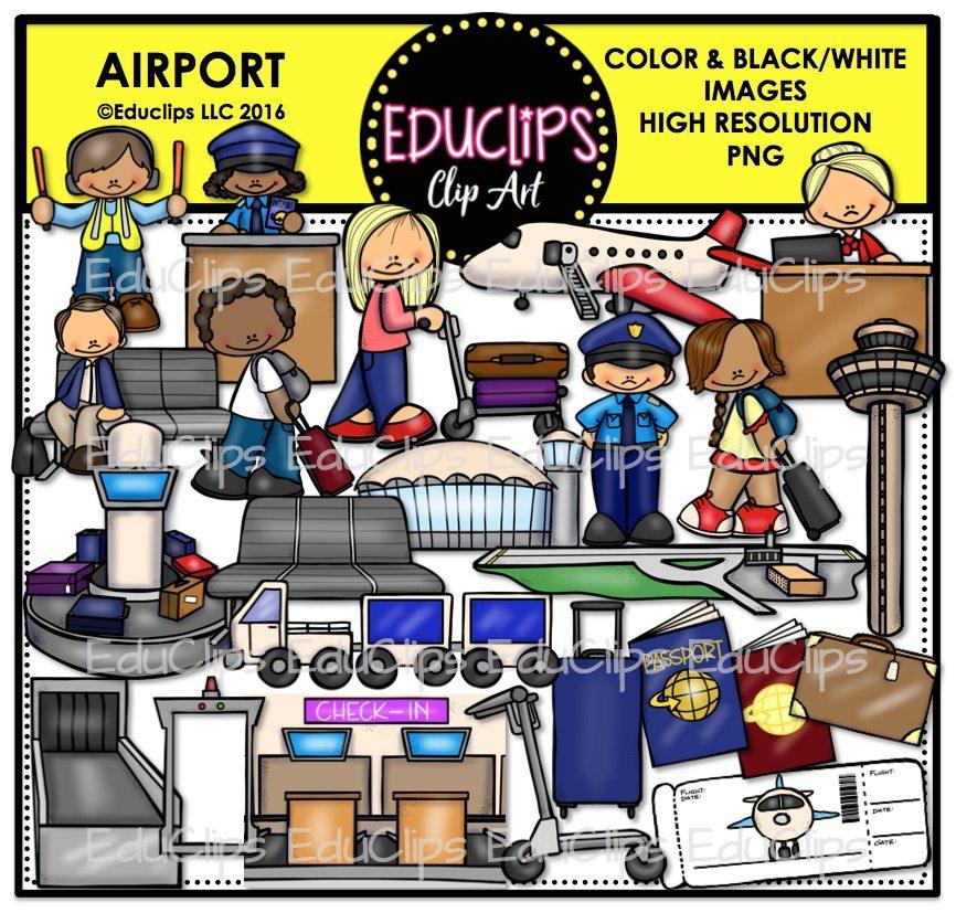 Cafe clipart airport. Clip art bundle color