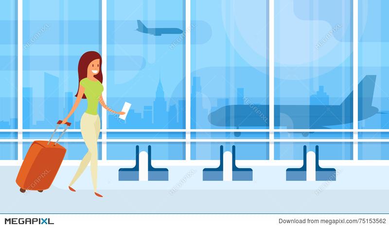 Traveler woman departure terminal. Airport clipart hall