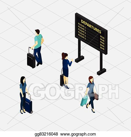 Airport clipart hall. Vector stock passengers isometric