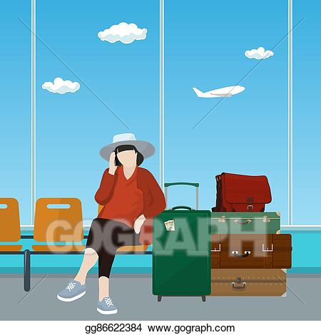 Airport clipart hall. Vector art waiting room
