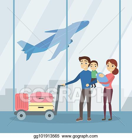 Airport clipart illustration. Vector stock people at