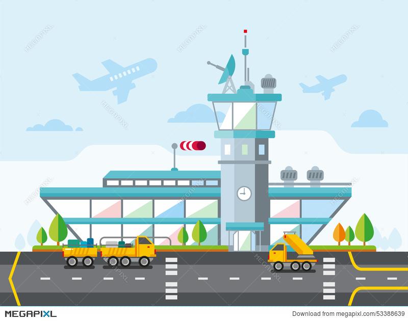 Airport clipart illustration. Modern flat design vector