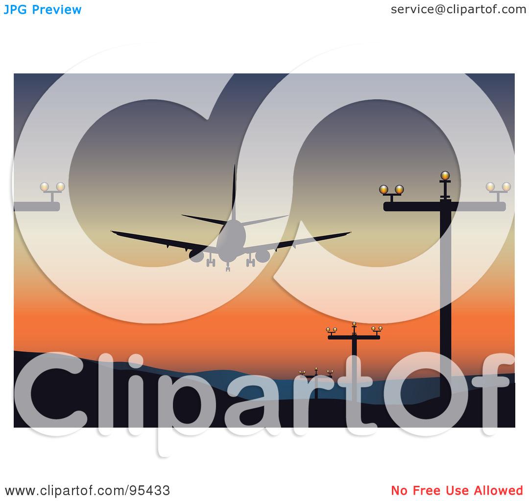 Plane landing on . Airport clipart illustration