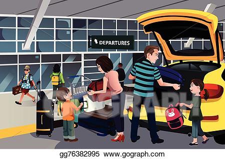 Airport clipart leaving. Vector stock family traveler