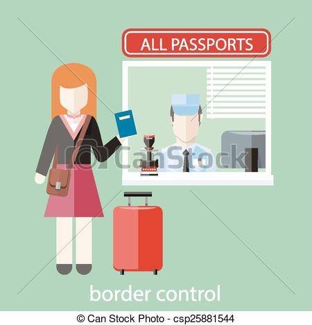 Passport control . Airport clipart leaving
