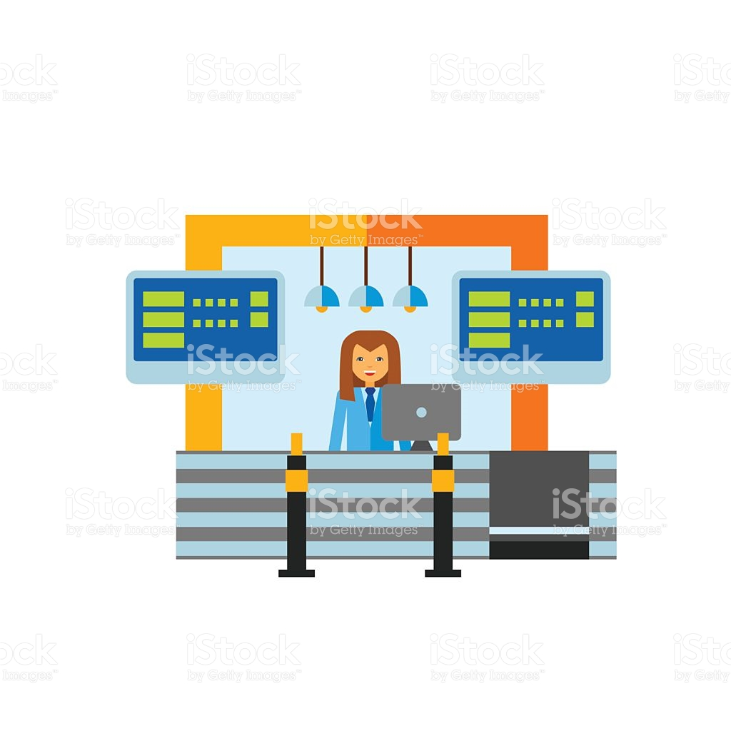 Pencil and in color. Airport clipart receptionist