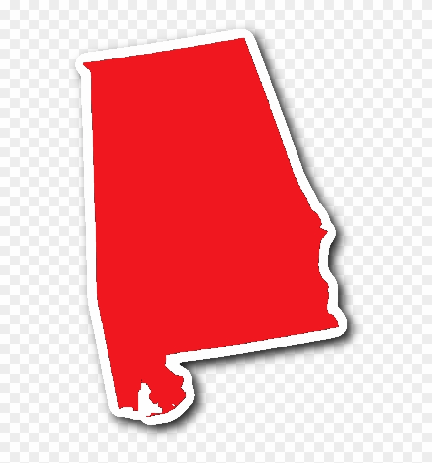 State shape sticker red. Alabama clipart