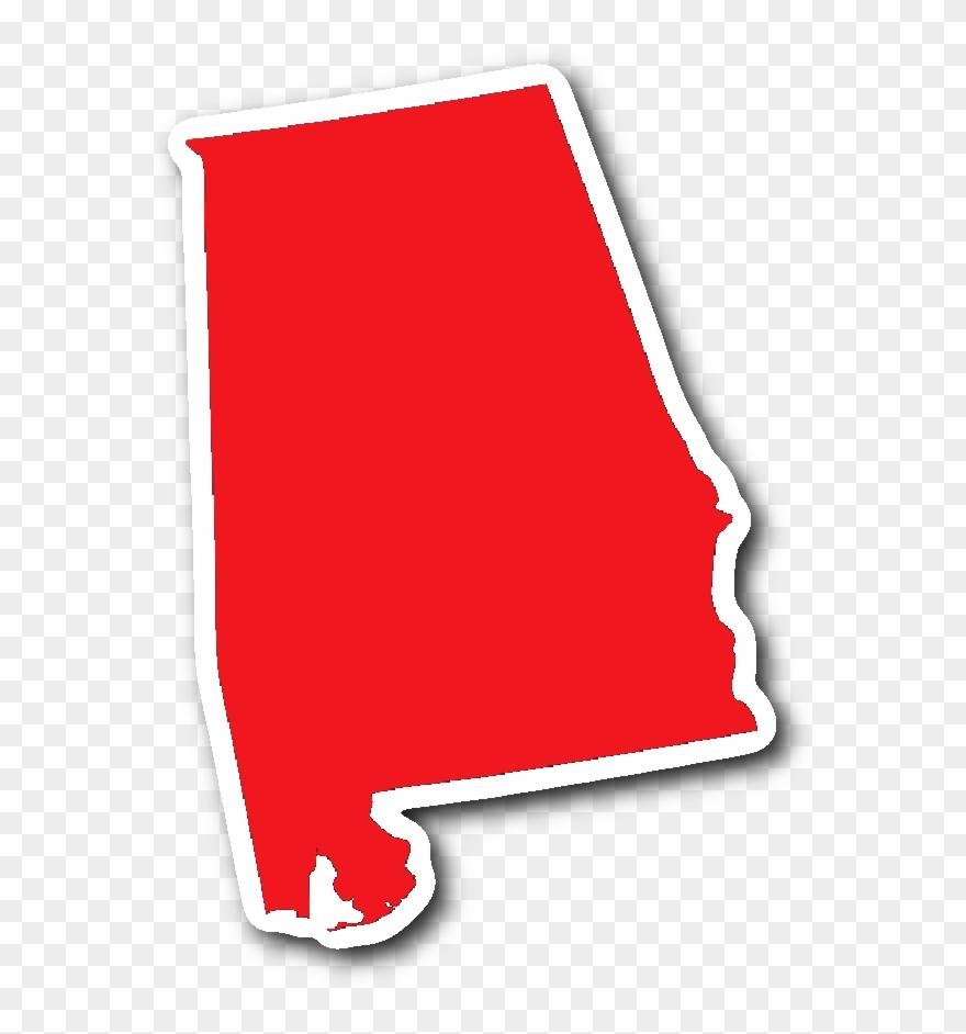 State shape sticker red. Alabama clipart