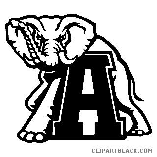 Elephant clipartblack com animal. Alabama clipart black and white