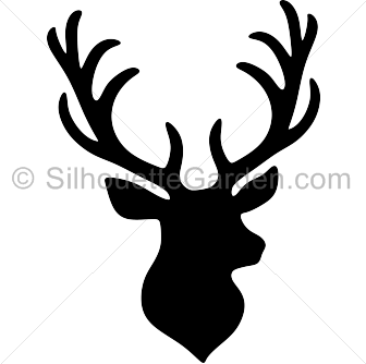 Alabama clipart deer antler. Stag head silhouette clip