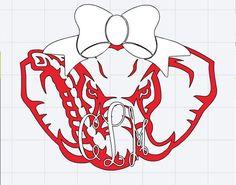 Alabama clipart head. Houndstooth elephant with monogram