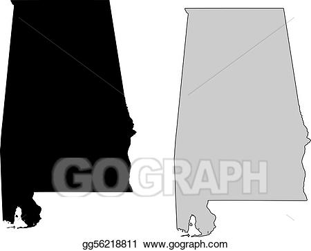 Vector stock map black. Alabama clipart illustration