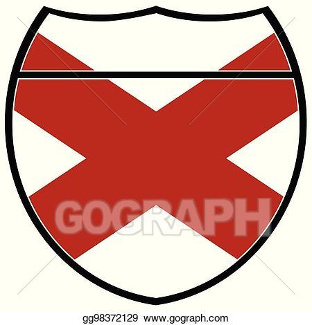 Vector art state flag. Alabama clipart sign