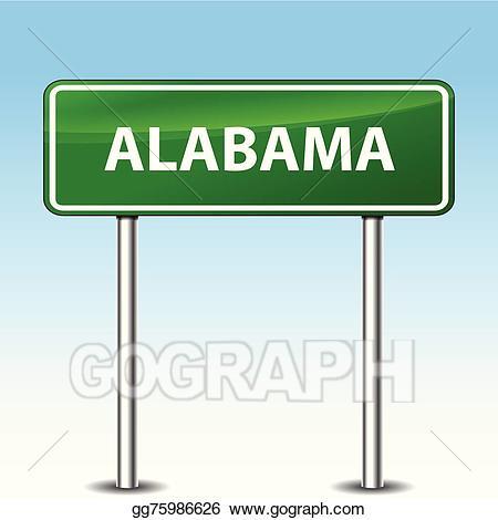 Alabama clipart sign. Vector art green drawing