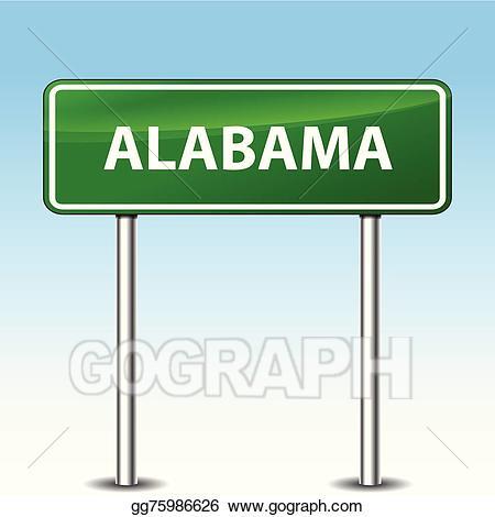 Vector art green drawing. Alabama clipart sign