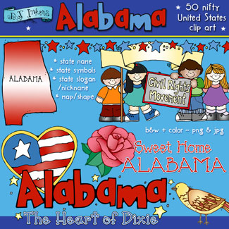 Sweet home alabama clip. United states clipart 50 state