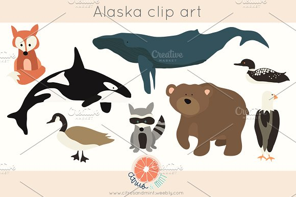 Woodland clip art illustrations. Alaska clipart animal alaska