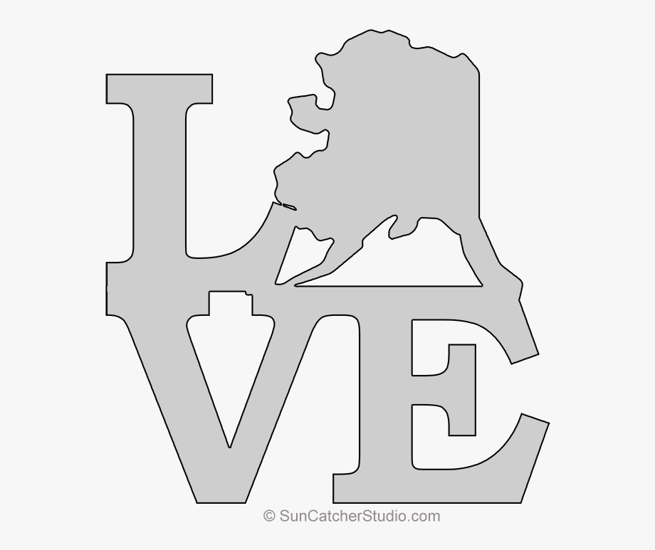 Alaska clipart black and white. Love map outline scroll