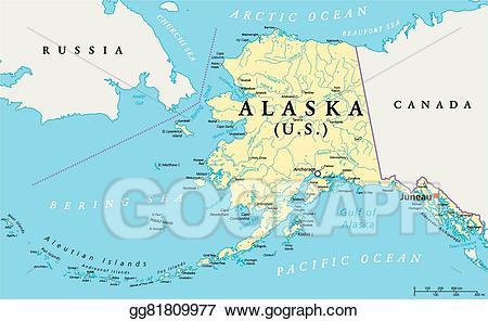 Vector political map illustration. Alaska clipart capital