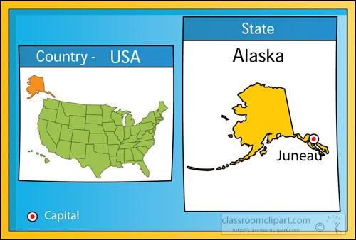 Us state maps juneau. Alaska clipart capital