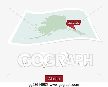 Vector curved paper map. Alaska clipart capital