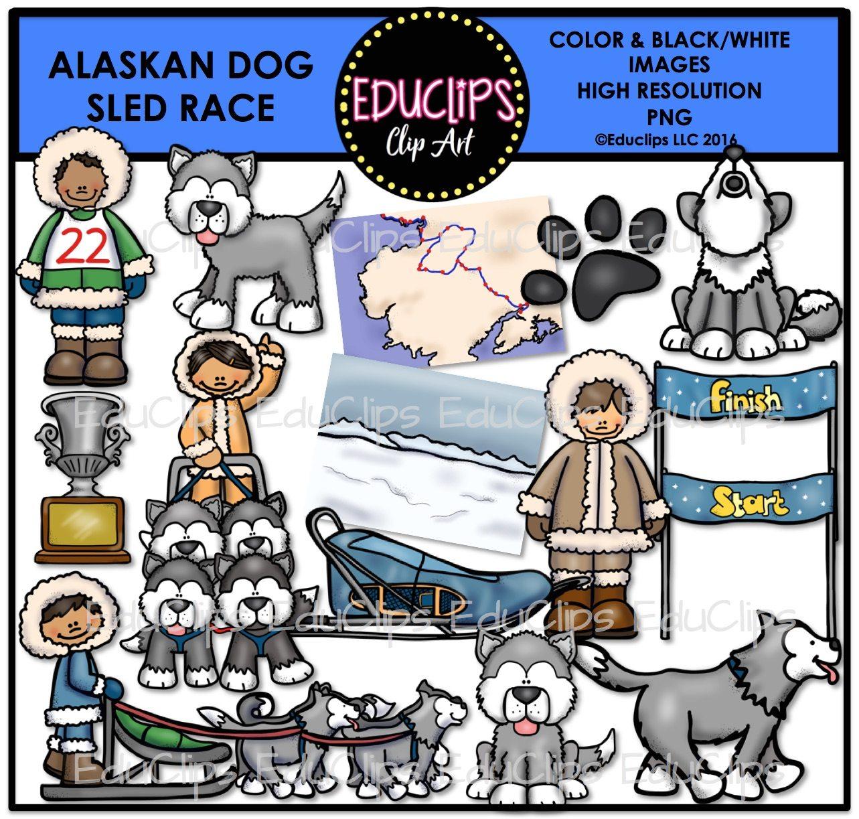Alaska clipart color. Alaskan dog sled race