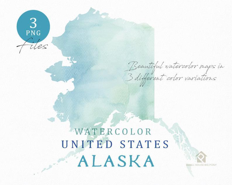 Map watercolor digital wall. Alaska clipart color