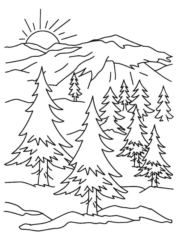Pages of mountains kids. Alaska clipart coloring page