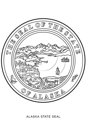 State seal free printable. Alaska clipart coloring page