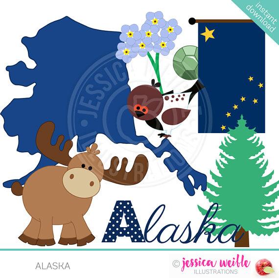 Digital for invitations card. Alaska clipart cute