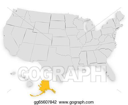 Stock illustration d render. Alaska clipart drawing