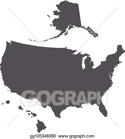 Vector stock usa map. Alaska clipart hawaii