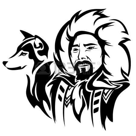 Eskimo pencil and in. Alaska clipart illustration