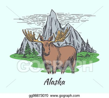 Vector poster with and. Moose clipart wildlife alaska