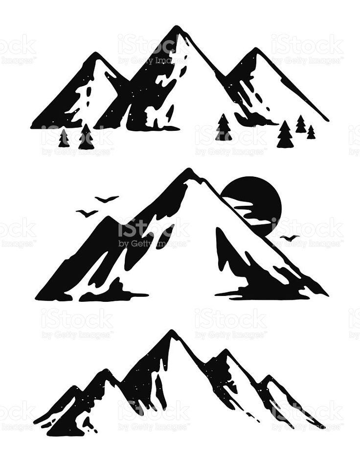 Alaska clipart mountains. Black and white mountain