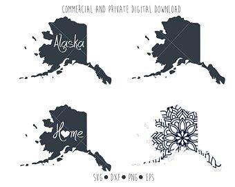 Alaska clipart outline. Etsy
