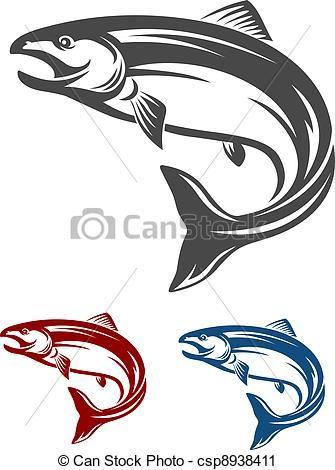 Salmon clipart. Vector clip art of