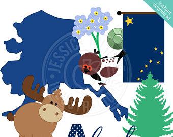 Alaska clipart shape. State of etsy cute