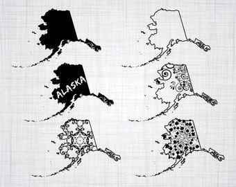 Etsy svg bundle state. Alaska clipart silhouette