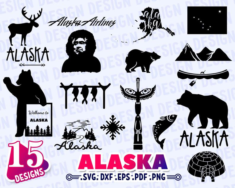 Svg state dxf decal. Alaska clipart silhouette