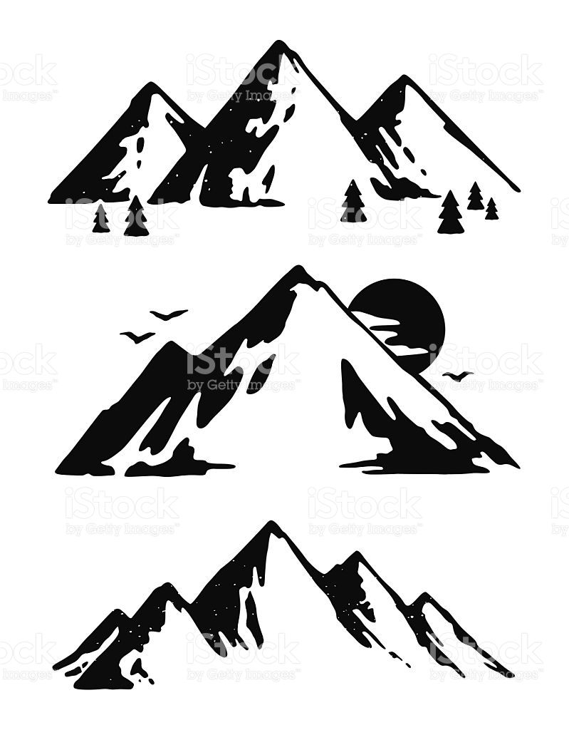Alaska clipart sketch. Three mountain landscapes editable