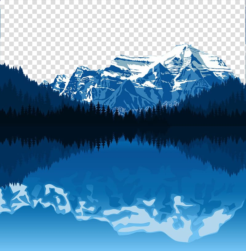 Capped mountains reflected on. Alaska clipart snow mountain