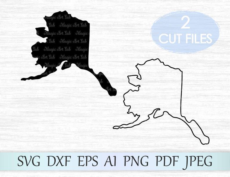 Svg vector ak outline. Alaska clipart state