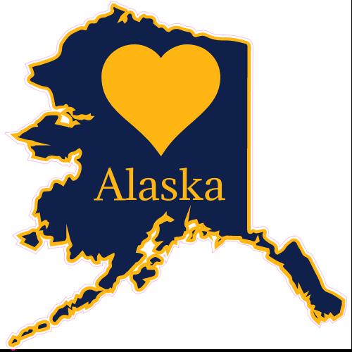 Alaska clipart state. Heart shaped sticker