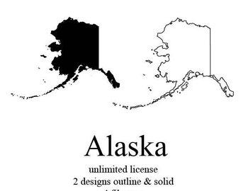 Outline etsy vector svg. Alaska clipart state