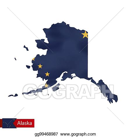 Vector art map with. Alaska clipart state