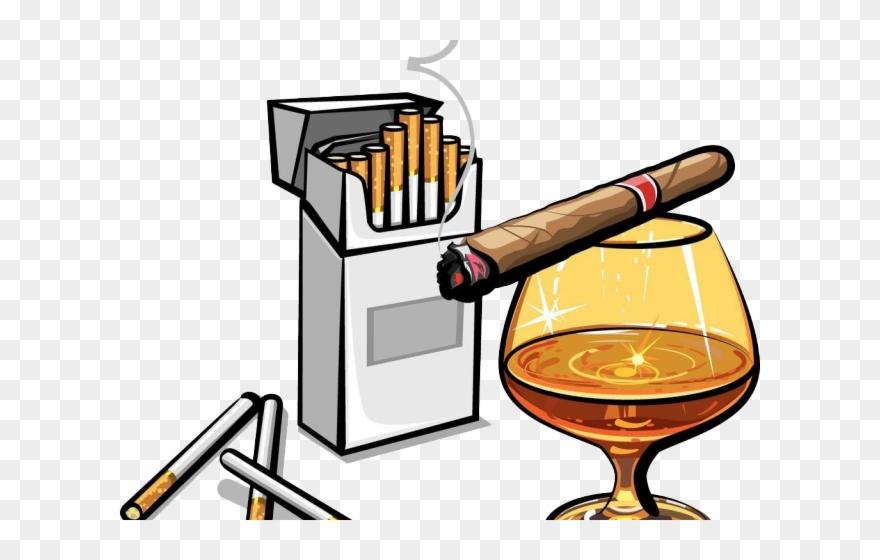 Tobacco whiskey and cigar. Cigarette clipart cigarette alcohol