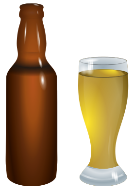 Bottle and glass food. Beer clipart alcoholic drink