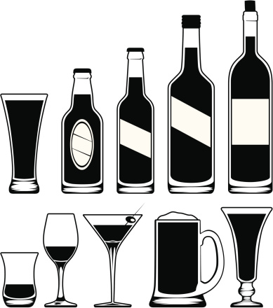 Alcohol clipart black and white. Clip art library